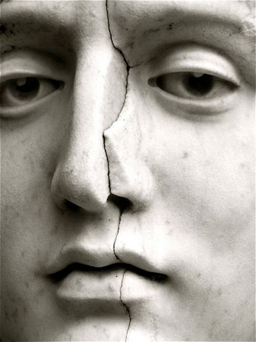 cracked marble face